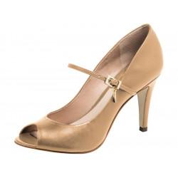 peep toe avec bride cuir beige