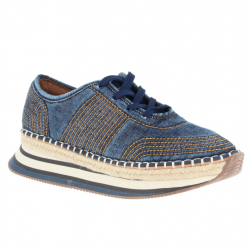 baskets mode textile bleu...