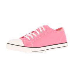 baskets à lacets toile rose